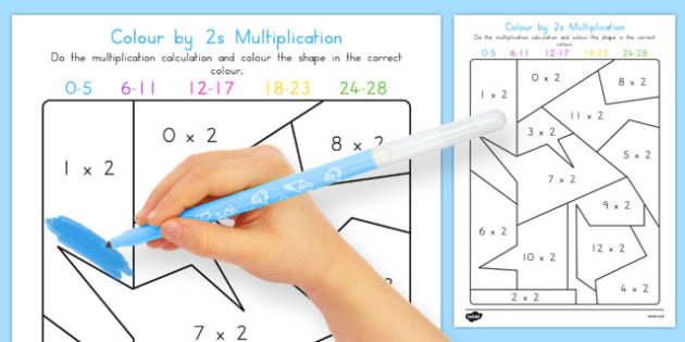 Colour by 2s Multiplication - australia, colour, 2s, multiplication, maths