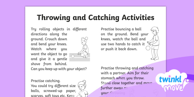 Twinkl Move - Year 1 Throwing and Catching: Home Learning Tasks - Move, homework, home learning, bouncing, rolling, throwing, catching, pe, physical education, ks1, y