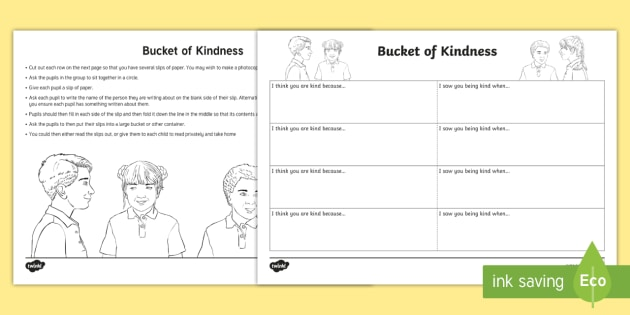 Bucket of Kindness Activity - emotions, young people, PSHCE