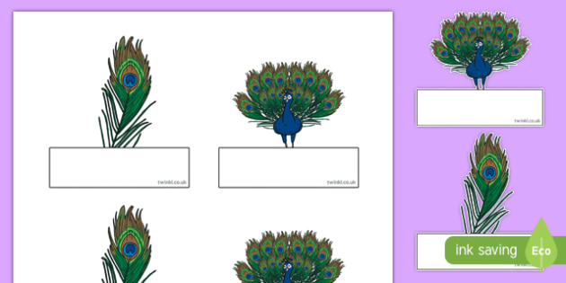 Peacock-Themed Self-Registration Labels