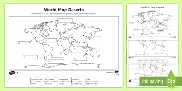 World Map Deserts Labelling Activity