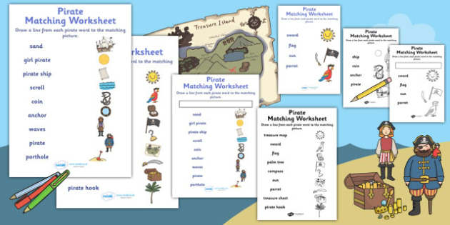 Pirates Word and Picture Matching Worksheet - pirate, match, sort