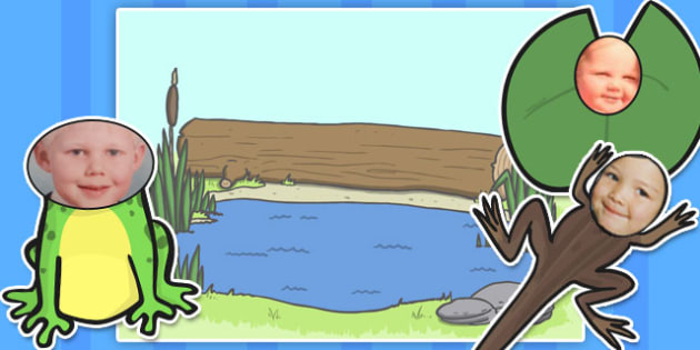 Face Editable Pond Cut Outs and Background - face, pond, cut outs