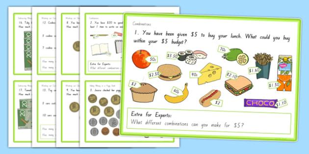 New Zealand Money Levels 2 to 3 Transition Maths Challenge Cards - NZ Money