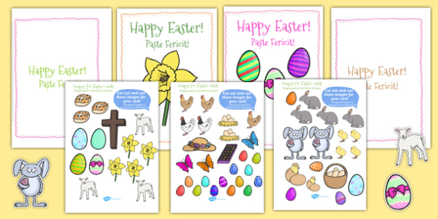 Easter Card Templates large Romanian Translation - romanian, Easter Topic, Easter, Happy Easter, easter story, resurrection, Christ, Jesus, card templates, cards, templates, postcard, independent writing, Easter, Easter resource