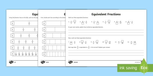 equivalent fractions worksheetworksheet  ks year     numeracy