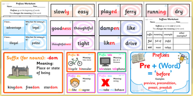 Prefixes Suffixes and Root Words Resource Pack - prefixes, suffixes ...