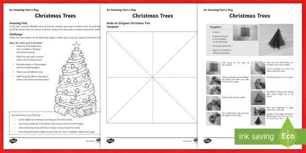 Amazing Fact a Day KS2 Countdown to Christmas Day 5 Origami Christmas Tree Worksheet / Activity Sheet - Amazing Fact Of The Day, worksheet / activity sheets, powerpoint, starter, morning activity, December, Christmas - Amazing Fact Of The Day, worksh