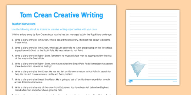 Tom Crean Creative Writing - Tom Crean, Irish History, South Pole, Antarctica, creative writing, diary entries, short stories