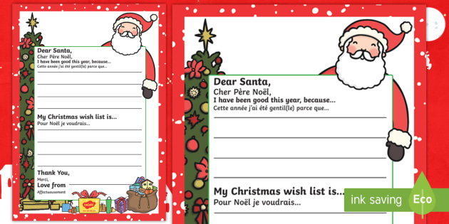 My Christmas Wish Letter To Santa Writing Template English French Father