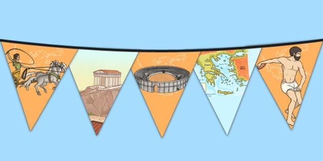 Ancient Olympics Bunting - ancient olympics, bunting, display, display bunting