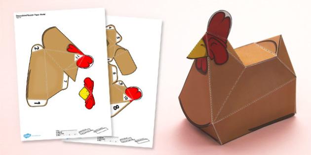 Rooster Paper Model - paper, model, craft, rooster