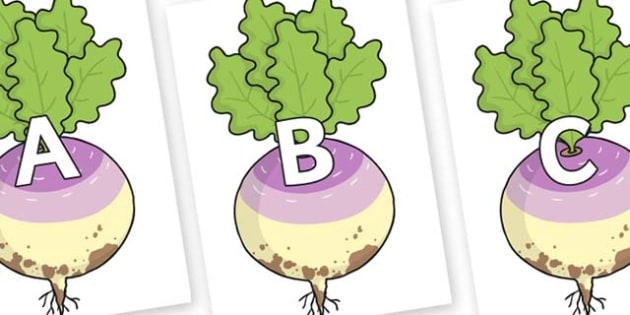 A-Z Alphabet on Enormous Turnip - A-Z, A4, display, Alphabet frieze, Display letters, Letter posters, A-Z letters, Alphabet flashcards