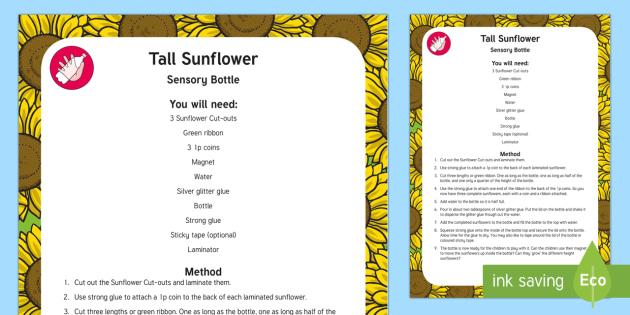 Tall Sunflower Sensory Bottle - maths, mathematics, height, sensory play, long, short, high, low