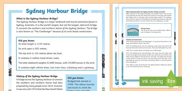 Sydney Harbour Bridge Fact File - Sydney Australia, harbour bridge, information, fact sheet, facts, sydney, australia, sydney harbour