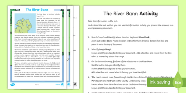 The River Bann Map Activity