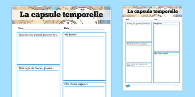 Time Capsule Transition Writing Frame French - french, writing frame, time capsule, transition writing frame, transition, time capsule writing frame, writing template