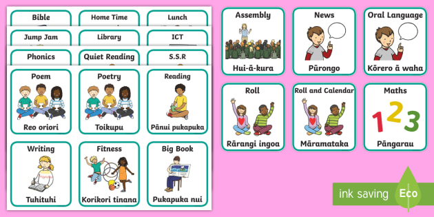 Visual Timetable Flashcards English/Te Reo Māori - New Zealand Back to School, daily routine, schedule, nz, new zealand, te reo maori