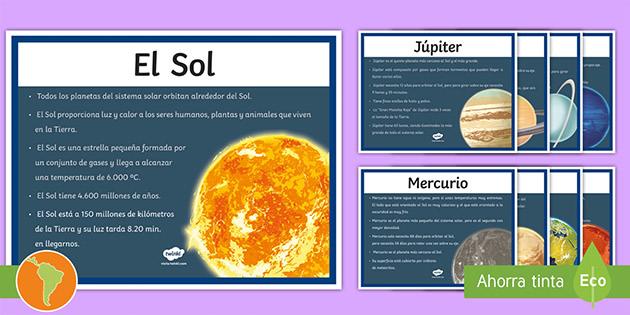 Free Posters De Exposición Características Del Sol Y Los Planetas