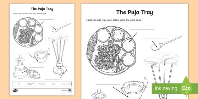 The Puja Tray Worksheet Activity Sheet Hinduism Hindu