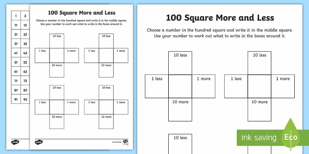 100 Square More And Less Activity 100 Square Hundred Square
