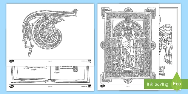 The book of kells colouring pages early christian ireland monastic monastery history