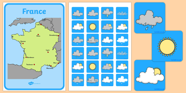 Weather Forecasting Role Play Pack France - france, Weather display, Weather role play, KS1, display banner, Weather, weather chart, weather display, date display, rain, sun, snow, fog, cloud