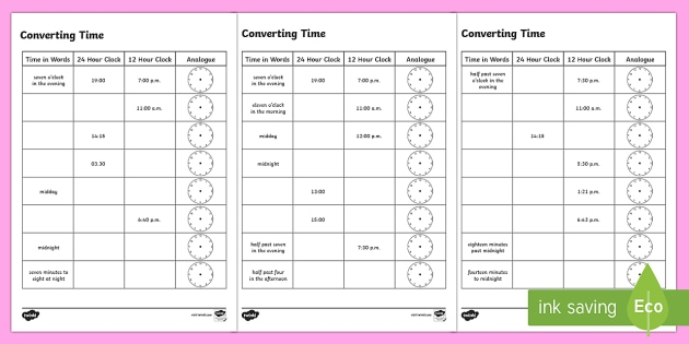 converting time worksheet activity sheets time 12 hour 24. Black Bedroom Furniture Sets. Home Design Ideas