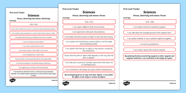 CfE Sciences (Forces, Electricity and Waves) First Level Child Friendly Tracking-Scottish