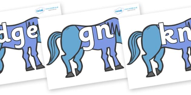 Silent Letters on Blue Horse to Support Teaching on Brown Bear, Brown Bear - Silent Letters, silent letter, letter blend, consonant, consonants, digraph, trigraph, A-Z letters, literacy, alphabet, letters, alternative sounds