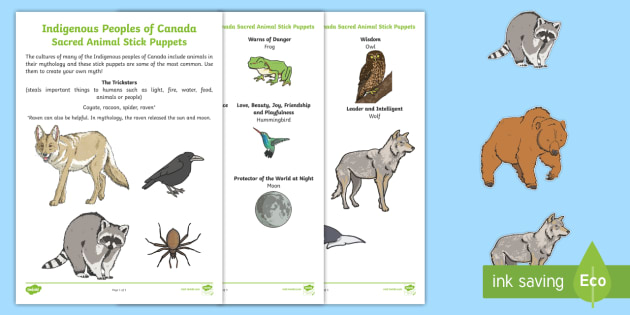 Indigenous Peoples of Canada Sacred Animal Stick Puppets  - Canadian First Nations, story telling, animals, tradition, Aboriginal, First Nations, Metis, Inuit,