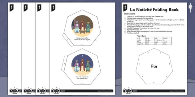 French Activity Sheet La Nativité Folding Book - french, la nativite, activity, folding book, worksheet