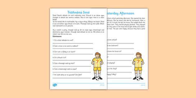 Irish Comprehension - Tráthnóna Inné  - leitheoireacht, reading, comprehension, ceisteanna, questions