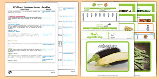 EYFS Discovery Sack Plan and Resource Pack to Support Teaching on Oliver's Vegetables - EYFS, Early Years planning, understanding the world, healthy eating, plants, garden, allotment, Vivian French