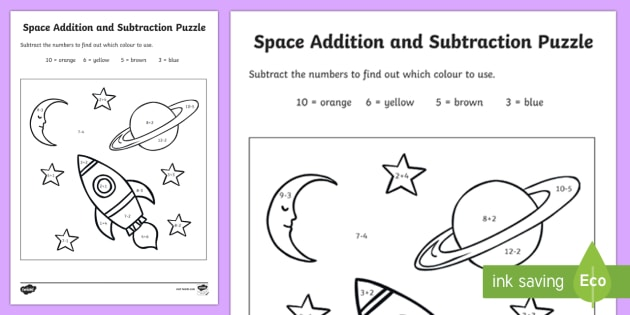 Space Addition and Subtraction Puzzle 0 10 - add, subtract, maths