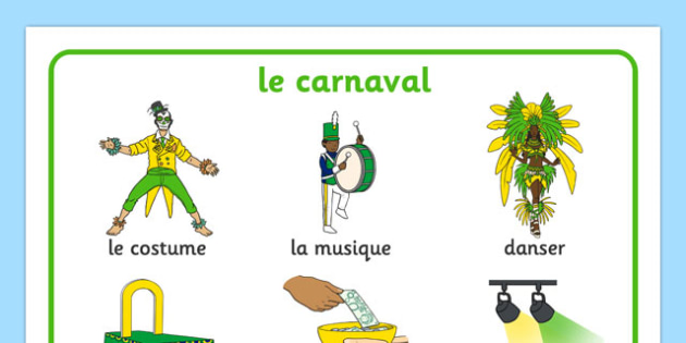 Carnival Word Mat French - EAL, translated, carnaval, Rio, festival