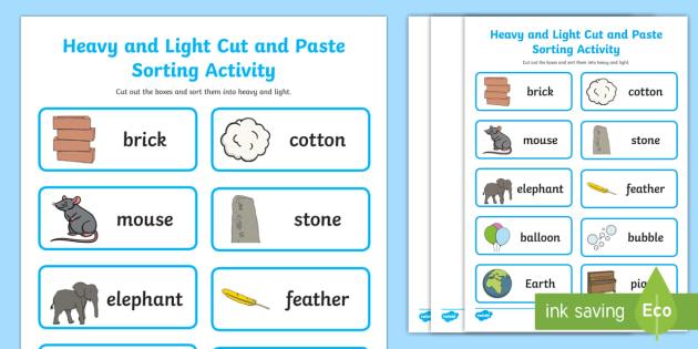 heavier and lighter sorting worksheet teacher made. Black Bedroom Furniture Sets. Home Design Ideas