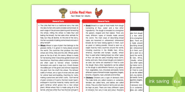 Little Red Hen Fact Sheet for Adults - EYFS, Early Years, KS1, traditional stories, farm, wheat, bread, chicken, harvest