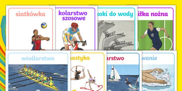 Plakaty z dyscyplinami sportowymi Rio 2016 po polsku
