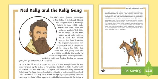 Ned Kelly Fact Sheet - Bushrangers, ned Kelly, Australian history, outlaws,Australia