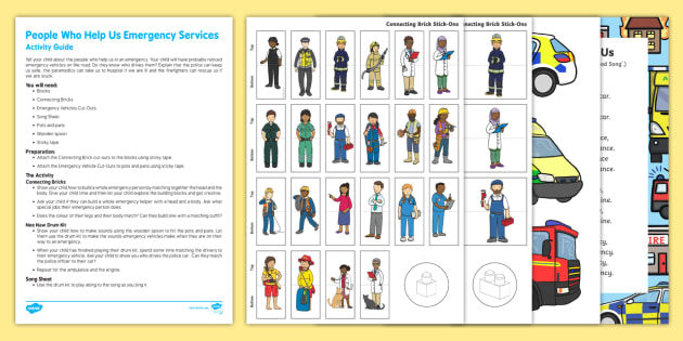 People Who Help Us Emergency Services Busy Bag and Resource Pack For Parents - People who help us, blocks, emergency, fire engine, police, ambulance, police car, paramedic, firefighter, parents