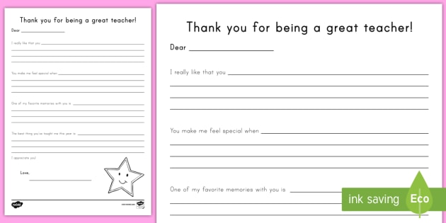 Thank you for being a great teacher: teacher appreciation writing.