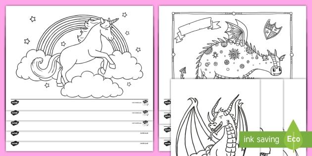* NEW * Dragons and Unicorns Colouring Activity Pack ...