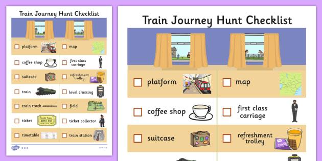 Train Journey Hunt Checklist - train journey, hunt, checklist, list