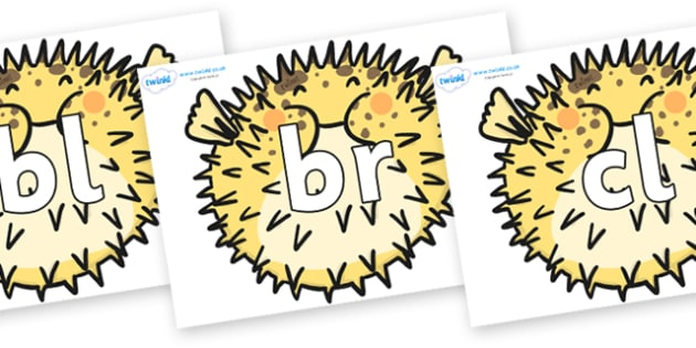 Initial Letter Blends on Pufferfish - Initial Letters, initial letter, letter blend, letter blends, consonant, consonants, digraph, trigraph, literacy, alphabet, letters, foundation stage literacy
