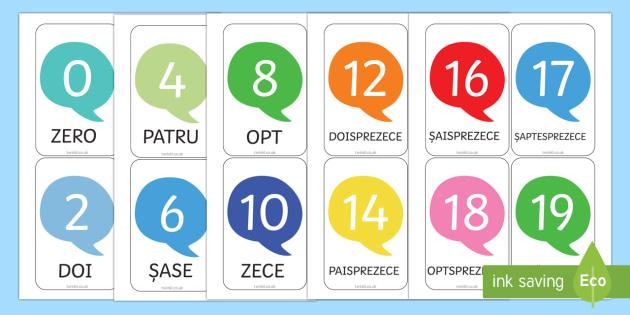Numerele de la 0 la 20 - Cartonașe