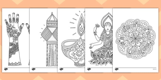 Adult Colouring Diwali Themed Mindfulness Colouring Sheets - colouring, pd, fine motor skills, well being, stress, relax, unwind, early years, ks1, ks2, art, home learning, display, adult colouring