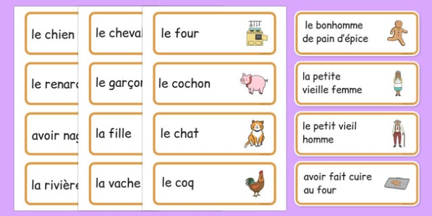 The Gingerbread Man Word Cards French -  EAL, translated, traditional tales, fairy tales