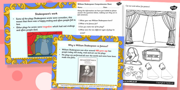 William Sheakespeare Powerpoint Task Setter and Activity Pack