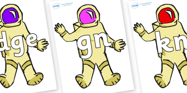 Silent Letters on Astronauts - Silent Letters, silent letter, letter blend, consonant, consonants, digraph, trigraph, A-Z letters, literacy, alphabet, letters, alternative sounds